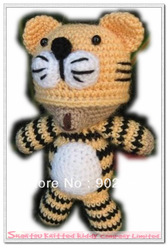 Free shipping (10pcs/lot) crochet toy, stuffed toy, in tiger bear design, wholesale of retail(China (Mainland))