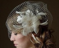 Elegant  Tulle With Feather And Imitation Pearls Wedding Bridal Hat/Bridal Veil /Headpiece/Party Hat/Corsage D253 Free Shipping
