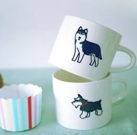 Yizi coffee dog ceramic cup shiba satsuma husky vip schnauzer