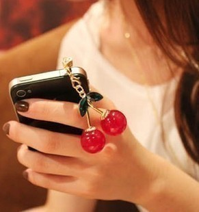 [77Fashion]79068 accessories for iphone 4 dust plug cherry mobile phone chain pendant