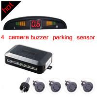 free shipping Promotional price 4 Sensors Car Parking System 12v LED Display Indicator Sound Alarm Car Reversing Sensors