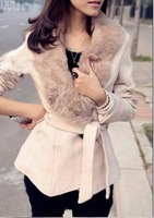 Free shipping 2012 autumn women's v1048 large lapel slim fur collar woolen outerwear