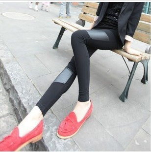 7049 2012 women's faux leather patchwork legging autumn long trousers(China (Mainland))