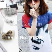 36PCS Nice Ancient Romantic Flower Love Heart Copper Silver Retro Style Pendant Sweater Chain Necklace//Random Color