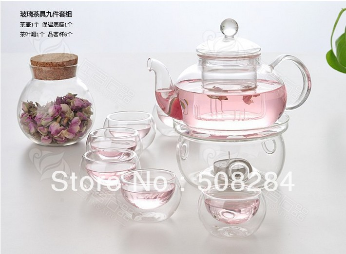 Glass Teapot set 600ML,High Temperature Resistance+6 Double wall coffee tea Cups+Warmer+2small Candle+food container(China (Mainland))