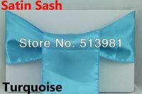 NEW 100 PCS Turpuoise  Satin Chair Cover Sash Satin Sash