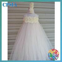 new dresses hot sale ivory 2 layer flower tutu dress set  12set/lot