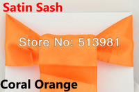 FREE SHIPPING 100 pieces Coral Orange Satin Chair Cover Sash Satin Sash,promotion price best service ,best choice  in alibaba