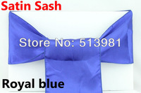 FREE SHIPPING 100 pieces Royal Blue Satin Chair Cover Sash Satin Sash