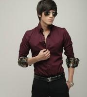 2013 fashion Men's dress slim shirt, casual wine red color shirt. 3 color option