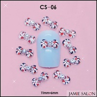 Cute 3D Figure Print Transparent Resin Bow Tie Nail Art Decoration Nail Bow 100pcs/lot Size: 11*6mm #CS-06