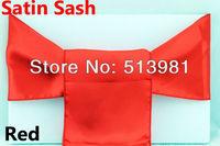FREE SHIPPING new hot red Satin Chair Cover Sash Satin Sash 100pcs 100% new