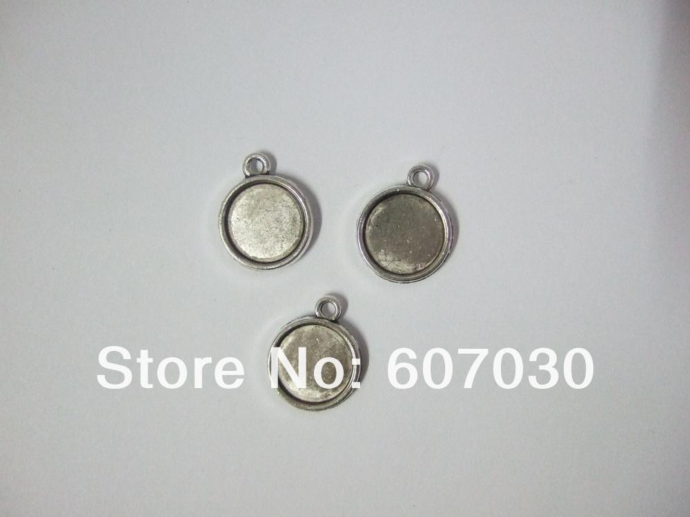 12мм античное серебро пустой лоток подвески,
