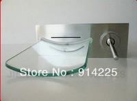 Nickel & Glass Waterfall Faucet Spout Mixer tub Tap J07yy /freeshipping