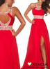 Discount Top Hatler Beads and Sequins Backless Slit Red Long Prom Evening Dress 2013 Free Shipping(China (Mainland))
