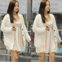 Fashion dress 2012 autumn and winter female plush medium-long long-sleeve cardigan loose sweater outerwear