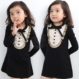2013 spring gentlewomen lace collar girls clothing baby child long-sleeve dress qz-0518