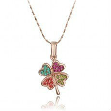 rose gold neckalce jewelry full Clover Necklace 4-color(China (Mainland))