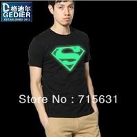 New Fashion Luminous t-shirt super man t-shirt summer short-sleeve t-shirt men's t shirt cotton t shirt for men