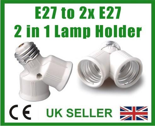 Lamp Socket Splitter E27 to two E27; 2 into 1; Screw Light Bulb Fitting Adaptor(China (Mainland))