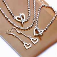 Promotions, free shipping silver plated  925 jewelry set, fashion jewelry set Heart-Shaped Bean To Three-Piece Jewelry Set S089