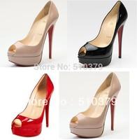 ladies peep high heel shoes womens patent leather wedding platform pumps high heels 14cm Women's Pumps