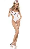 Sexy hollow white nurses cloth,Performance uniform,role play ,elastic.Free shipping!