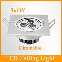Promotion!! 3W Square Led Down Light Recessed Lamp  255LM Led downlights sandblasting 120V 240V Dimmable