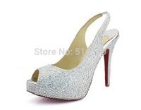 120mm rhinestone sexy high heel shoes woman  platform pumps high heels wedding shoes crystal silver red blue black