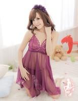 Sexy lingerie pink princess dress+g string set sleepwear costume sexy sleepwear,sexy kimono ,sexy uniform1390-purple