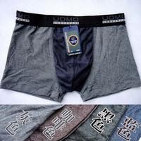Hot! 4pcs/lot Men's Underwear Boxers  male cotton panties  cotton lycra solid color pants 4 color ,size:M L XL XXL XXXL