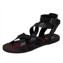 Sandálias gladiador de couro sapatos casuais homens sandálias masculinas(China (Mainland))