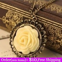 Min Order $10(Mix Items)Vintage Fashion Jewelry White Rose Flower Long Chain Bronze Pendant Retro Sweater Necklace