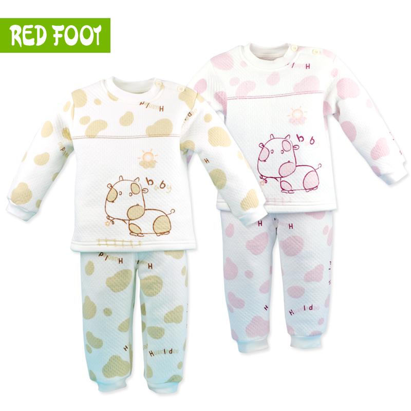 Free shipping Thickening 2012 baby thermal underwear set 100% baby cotton thermal underwear sleepwear 1 - 3 years old(China (Mainland))