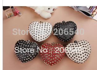 PUNK Heart Shaped Party Queen Silver Rivet Clutch Evening Bag Sling bag 260g Wholesale Drop shipping Free shipping
