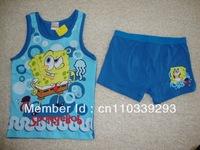 boy SpongeBob suit vest+short boy cartoon clothing set