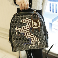 2013 korean backpack bag preppy style cartoon geometry patchwork handbag one shoulder multi-purpose bag