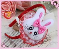 Min order $ 5 ! headwear Cute  white rabbit lace princess hairbands children baby kid's hair accessories wholesale/retail 2013