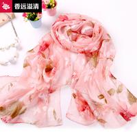 Silk scarf women's design long scarf cape flower silky chiffon silk scarf