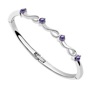 New  Spring Trendy Purple  Crystal The Breeze  Sliver  Bangle Cuff Bracelet  For women Fashion Jewelry  Gifts Box