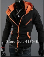 Orange 2013 spring new Korean casual men's cardigan outer clothes the Assassins Creed Methodist Yiyi Fleece hit color