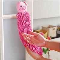Chenille bamboo fibre animal head hand towel hanging anthozoan handkerchief waste-absorbing