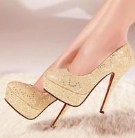 Free shipping Orange queen spring fashion paillette white bridesmaid wedding shoes women's stiletto platform shoes