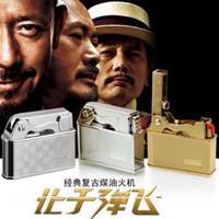 Old fashioned fage zhongbang vintage kerosene bullet flint lighter gift box set