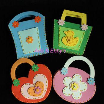 Free Shipping Eva Diy Cartoon Kids Handbag,Children Shopping Bag,Handmade Craft Kits, Educational Toys, Birthday Gift, 4 Designs