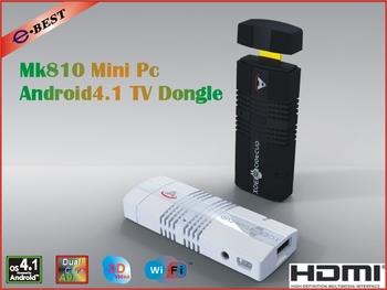 2013 New!!5pcs/lots  MK810 Android 4.1.2 Mini PC TV Stick Amlogic AML8726_MX 1.6GHz Cortex A9 Dual core 1GB RAM 4GB 3D TV Box