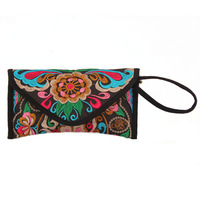 National trend double faced embroidered purse portable cloth vintage long design wallet exquisite embroidery small bags female