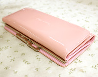 Candy color wallet small fresh long design three fold wallet sweet pink yellow solid color patent leather wallet