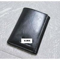 Men's tri-fold wallet multi card holder small full genuine leather black wallet