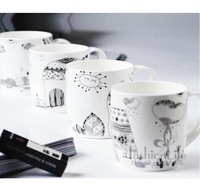 FREE SHIPPING Cup fashion breakfast cup bone china cup lovers ceramic glass mug